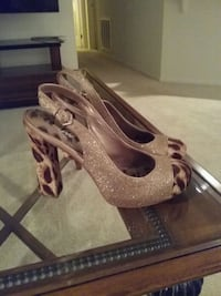 pair of brown leather open-toe heeled sandals Irvine, 92606