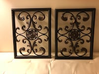 two black metal wall decors