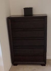 black wooden 5-drawer tallboy dresser 28 km