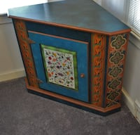 Hand Painted Corner Cabinet Silver Spring