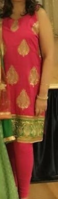 Hot pink and gold Salwar Kameez