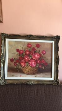 brown wooden frame with red rose in brown basket painting Toronto, M1L 1T4