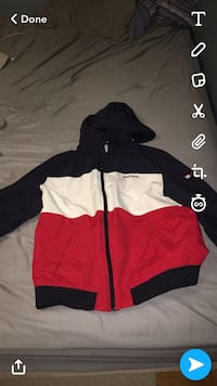 white, black, and red zip-up hoodie Guelph, N1E 4E7