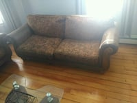 brown and black floral fabric 2-seat sofa Providence