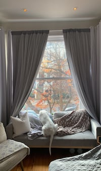 """Gray full length curtains """"180 in set"""