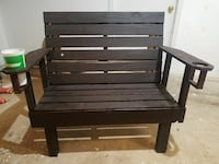 black wooden bench