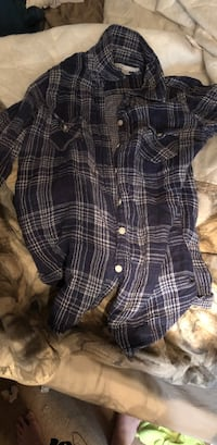 Blue and white plaid button-up shirt Midland, 79706