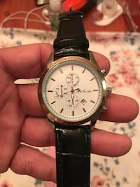 round silver-colored chronograph watch with black leather strap Perry, 31047