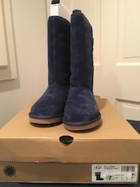 pair of black UGG Bailey Button boots with box Arlington
