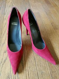 pair of red suede pointed-toe heeled shoes La Grange Park, 60526