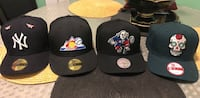 Four assorted-color fitted caps New York, 10457
