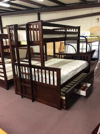 Dark Espresso Bunk Bed- Twin Over Full Over Twin With Draws Houston, 77076