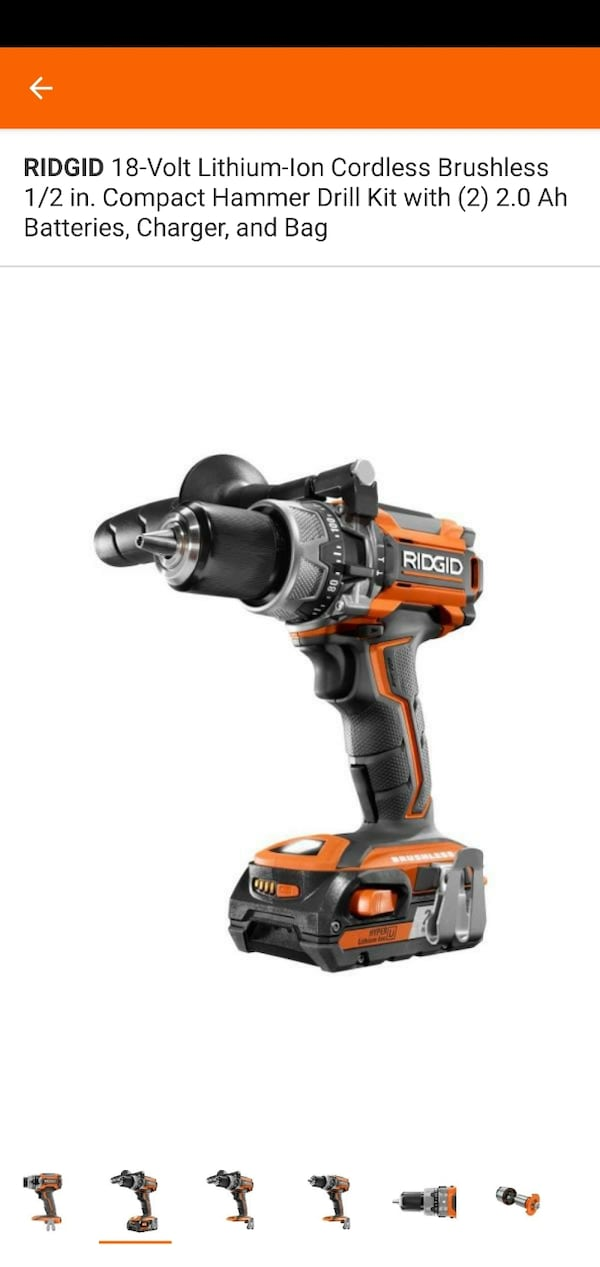 RIDGID 18-Volt Lithium-Ion Cordless Brushless 1/2 in. Compact Hammer D 2