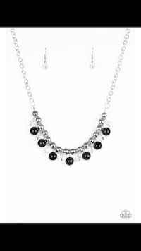 silver-colored necklace with earrings Sparks, 89431