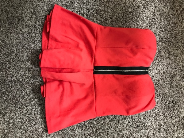 Red strapless blouse