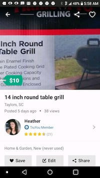 14 in round table grill Greer, 29650