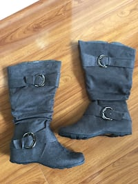Wide Calf Grey Boots - Size 7 1/2 MISSISSAUGA