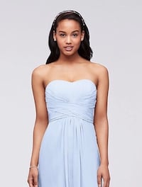 David's Bridal Bridesmaid Strapless Ice blue Long Dress / Gown Size 4 Syle F15555 New York, 11234