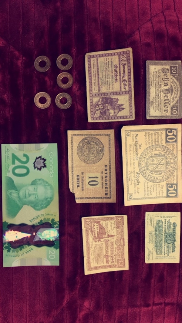 WWII AUSTRIA lot of 6 different OLD & RARE bank note 1920 Heller. This lot includes 5 British Colonial Indian coins with hole.