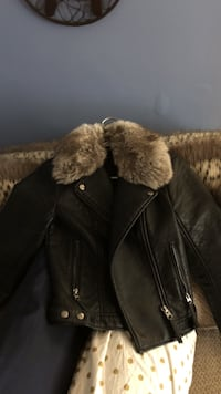 black and brown leather parka jacket Quincy, 02169