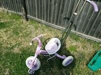 pink and white floral push trike