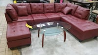 Brand New Red Faux Leather Sectional Sofa +Ottoman Silver Spring, 20902