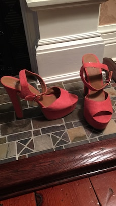 brown and red suede strap peep toe pumps
