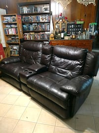 Mahogany leather recliner, sectional couch Houston, 77037