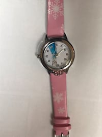 round silver analog watch with pink leather strap Falls Church, 22041