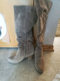 pair of brown suede knee high boots Johnston, 50131