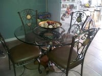 metal frame glass top table with chairs set Brooklyn, 11207