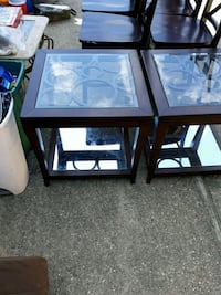set of 2 glass and mirror side tables  Harvey, 70058
