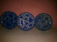 three blue-and-white floral ceramic plates Jacksonville, 32225