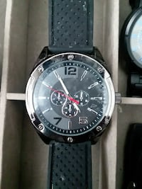 Black chronograph watch with silicone strap   Clive, 50325