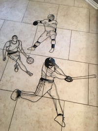 Wall Decor — Set of 3, Wire Sports Figures Indianapolis, 46236