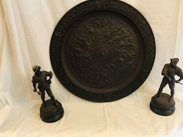 Antique Tudor shield and figurines