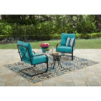 3-pc Outdoor Patio Bistro Chat Set w/ Motion Chairs & Table | Teal Vernon