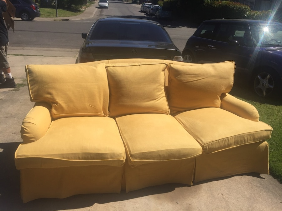 6 months old Yellow 3-seat sofa - McClellan AFB