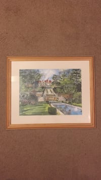 House above ground near fountain painting