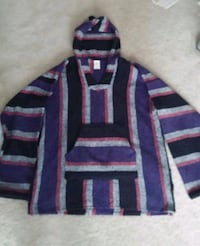 80's Men's Mexican Baja Surfer/Skater Hood Poncho Germantown, 20874