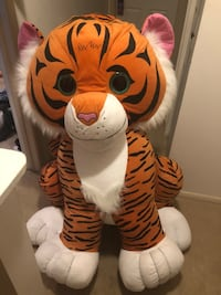 3.5 foot White and red tiger plush toy
