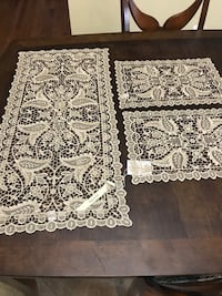 Three white lace tablecloths Rockville, 20853