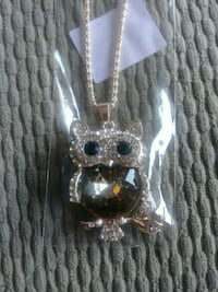 silver-colored diamond encrusted owl pendant Belleville, K8N 1L2