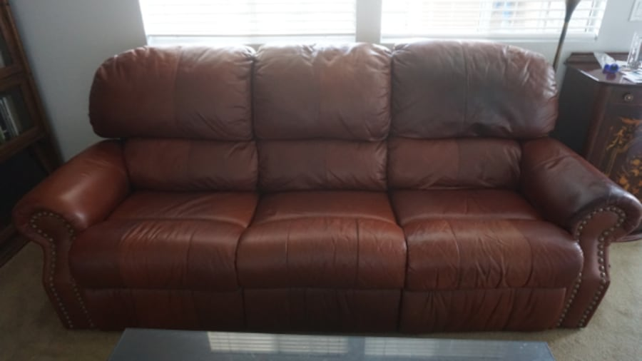 Used Vintage Brown Leather Sofa For