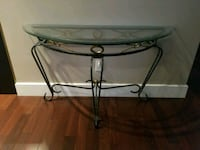 Console glass top wrought iron table 48x18 Montréal, H1J 1G5