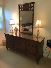 Vintage Mid Century Modern Dresser Chest of Drawers with MIRROR by Dixie Acworth