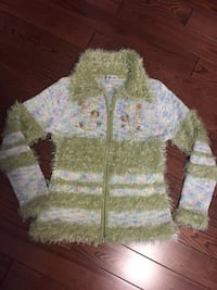 green and white knit zip-up jacket Laval