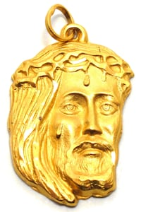 Mens 22K Jesus Head Pendant Norfolk