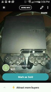black Sony PS3 slim console with controllers screenshot Vancouver, V5X 1N3