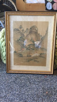 "Vintage hand painted scene on silk. 17""x14"" Newport Beach, 92660"
